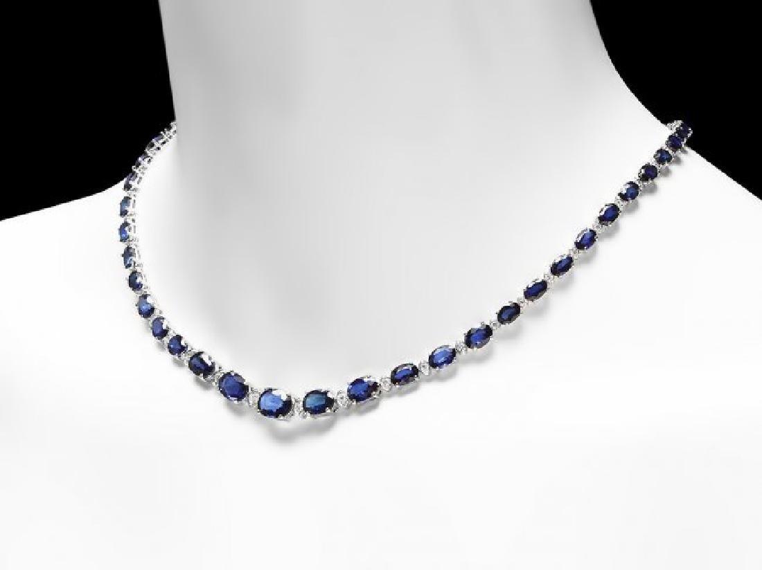 14k Gold 37.00ct Sapphire 1.60ct Diamond Necklace - 4