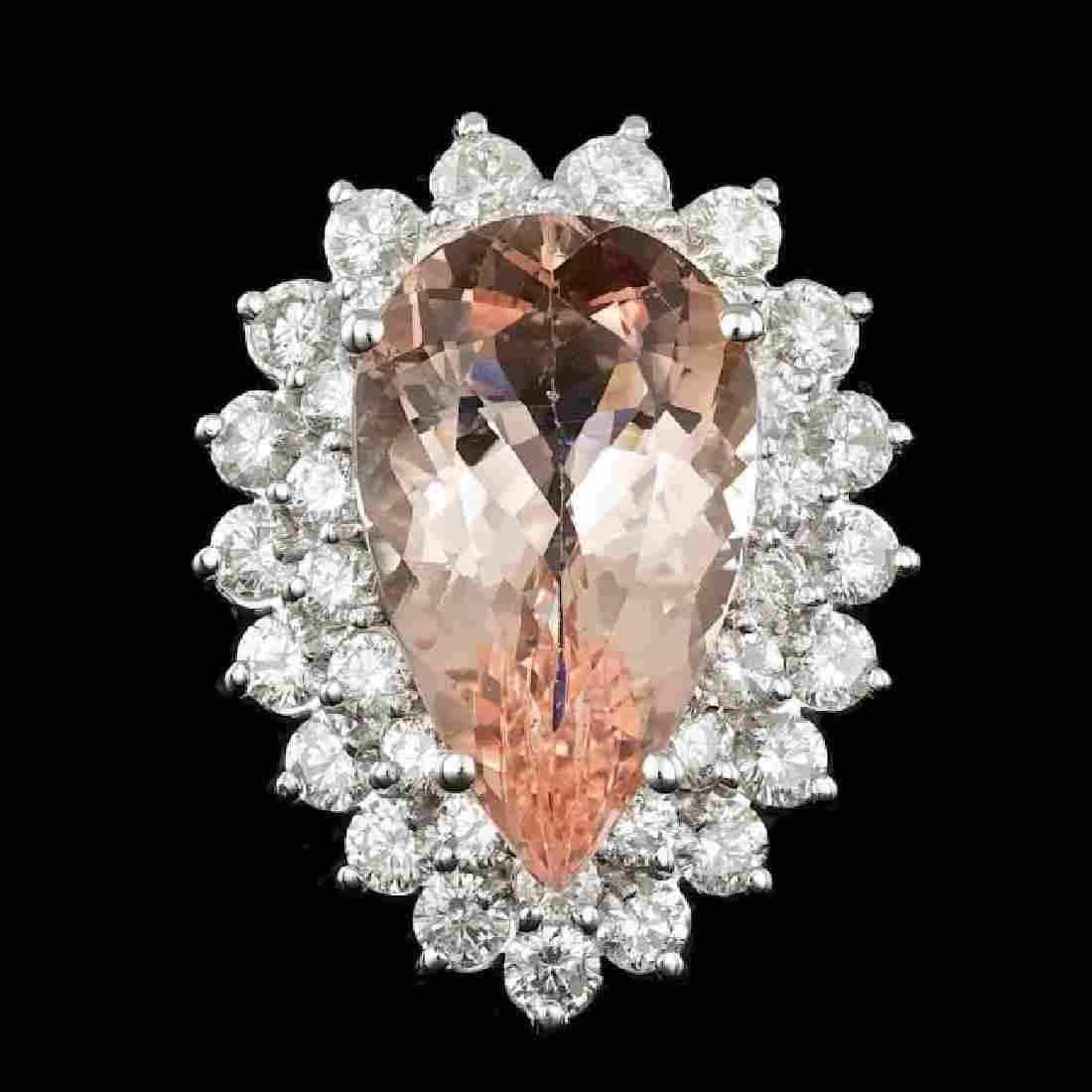 14k Gold 8.00ct Morganite 2.35ct Diamond Ring