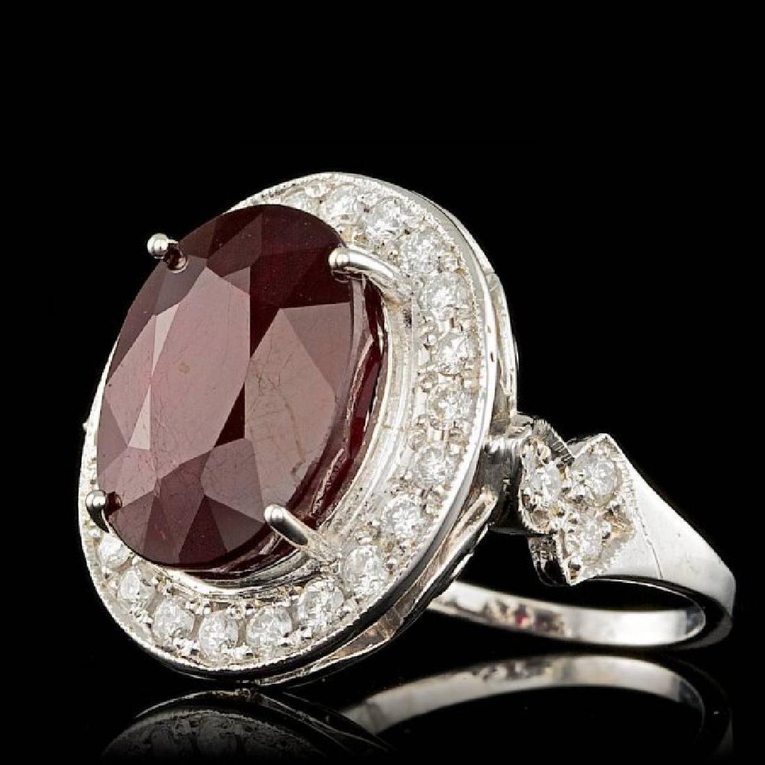 14k White Gold 12.50ct Ruby 1.90ct Diamond Ring