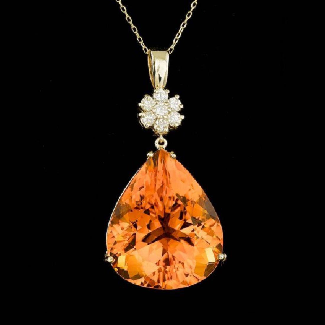 14k Gold 43.50ct Citrine 0.60ct Diamond Pendant