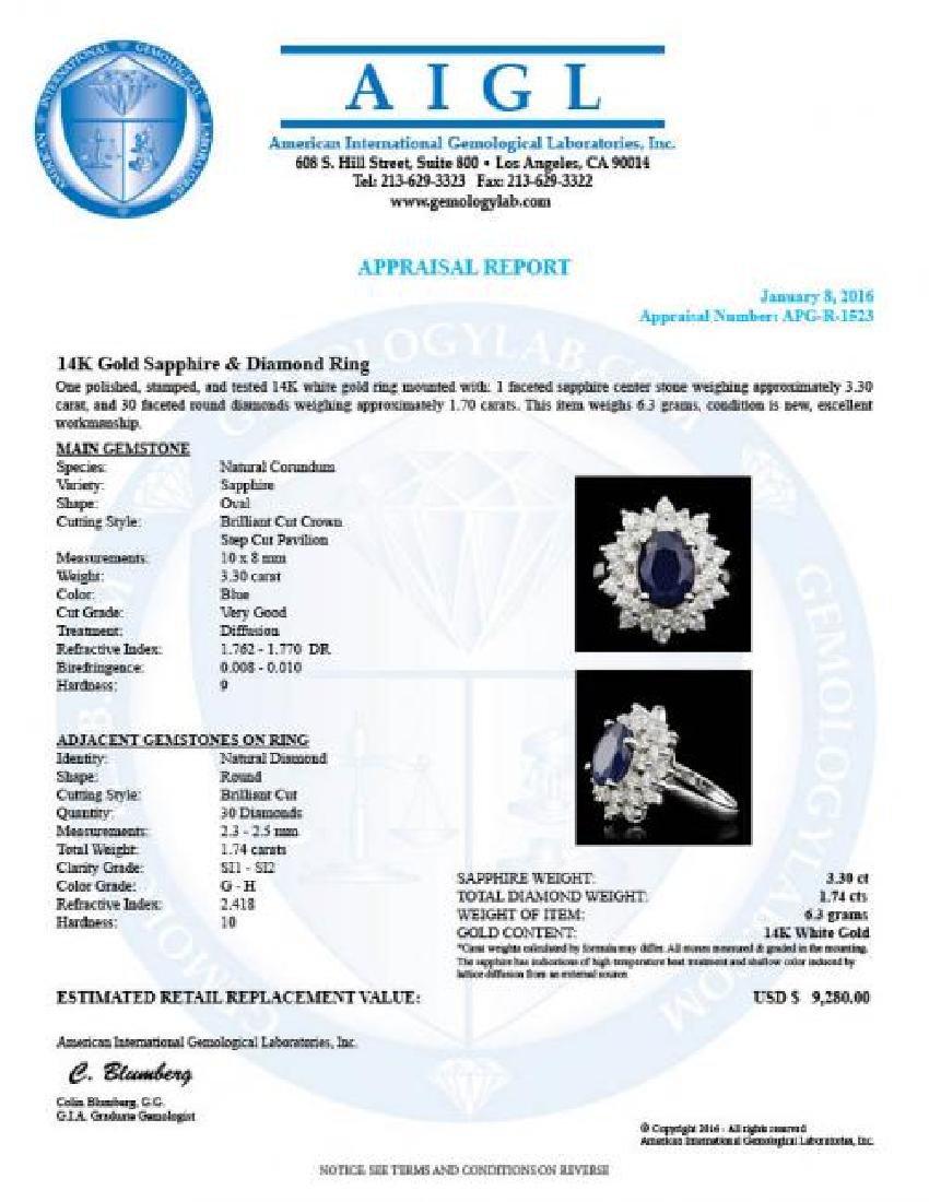 14k Gold 3.30ct Sapphire 1.74ct Diamond Ring - 5
