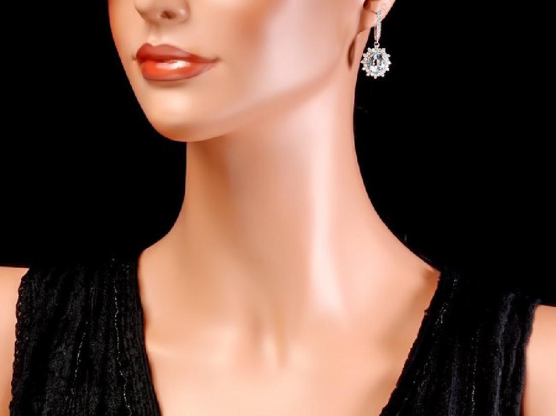 14k Gold 8ct Aquamarine 1.9ct Diamond Earrings - 4