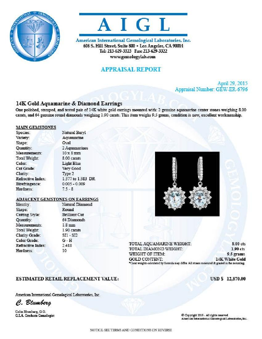 14k Gold 8ct Aquamarine 1.9ct Diamond Earrings - 5