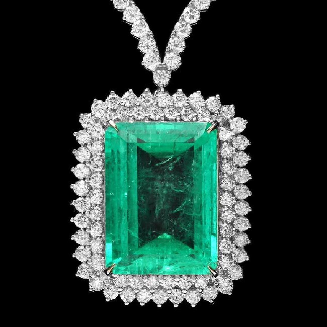 18k White Gold 32.50ct Emerald 11.50ct Diamond Necklace