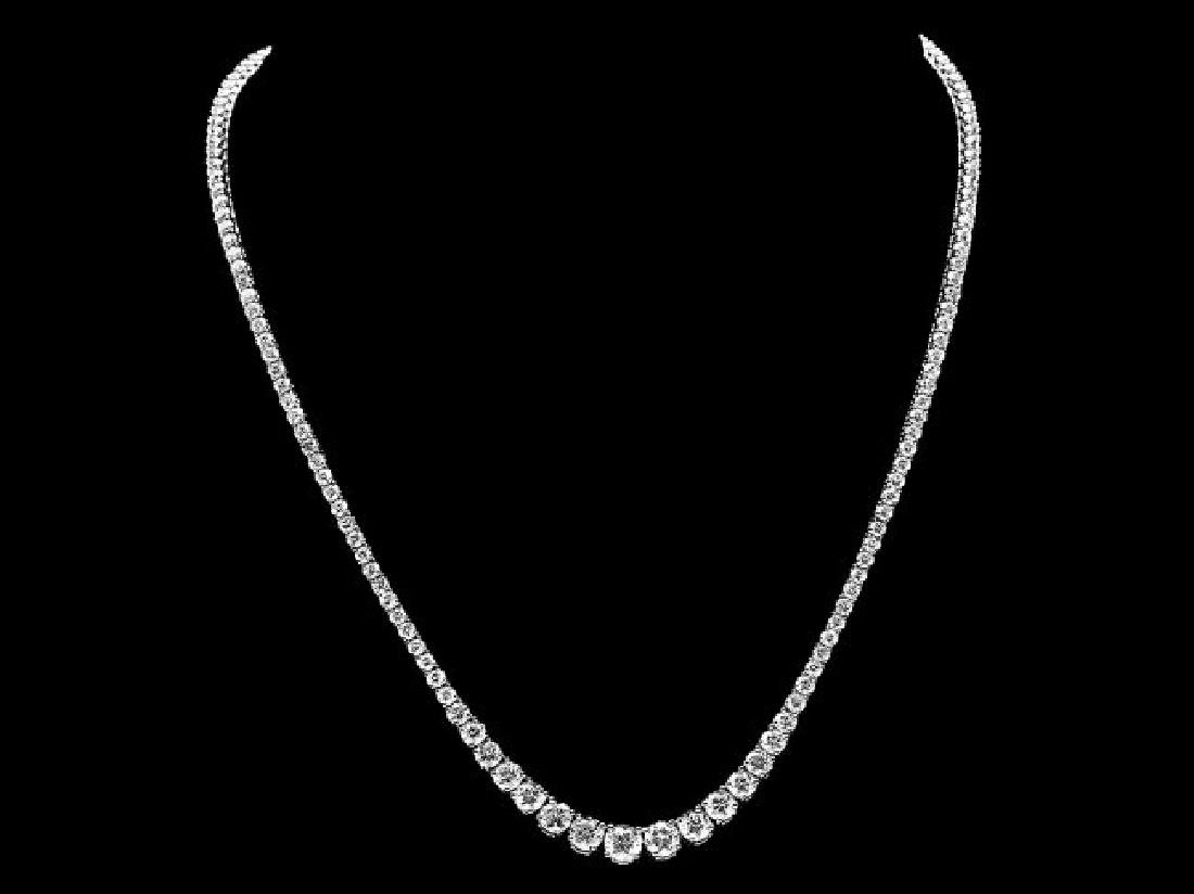 18k White Gold 11.50ct Diamond Necklace - 2