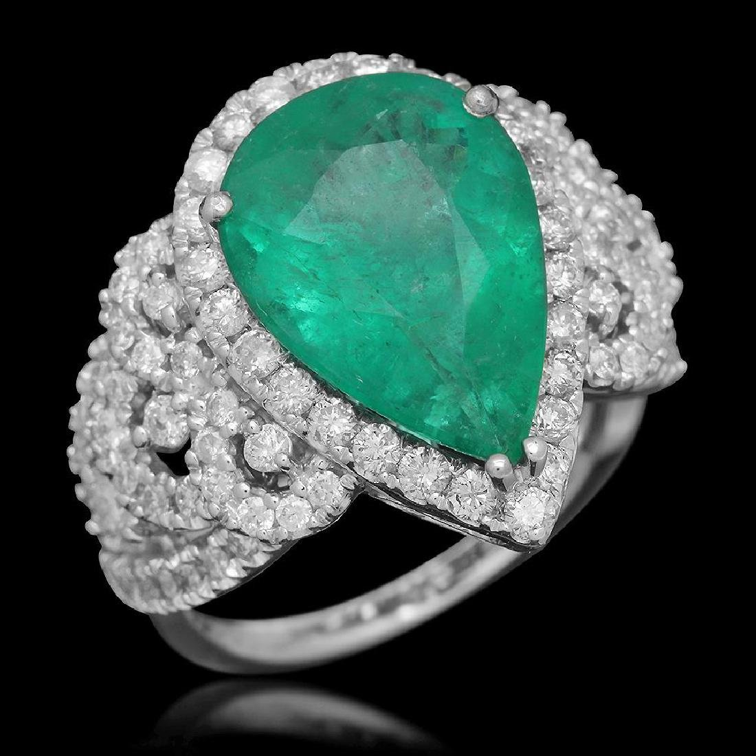 14K Gold 4.55 Emerald 1.20 Diamond Ring