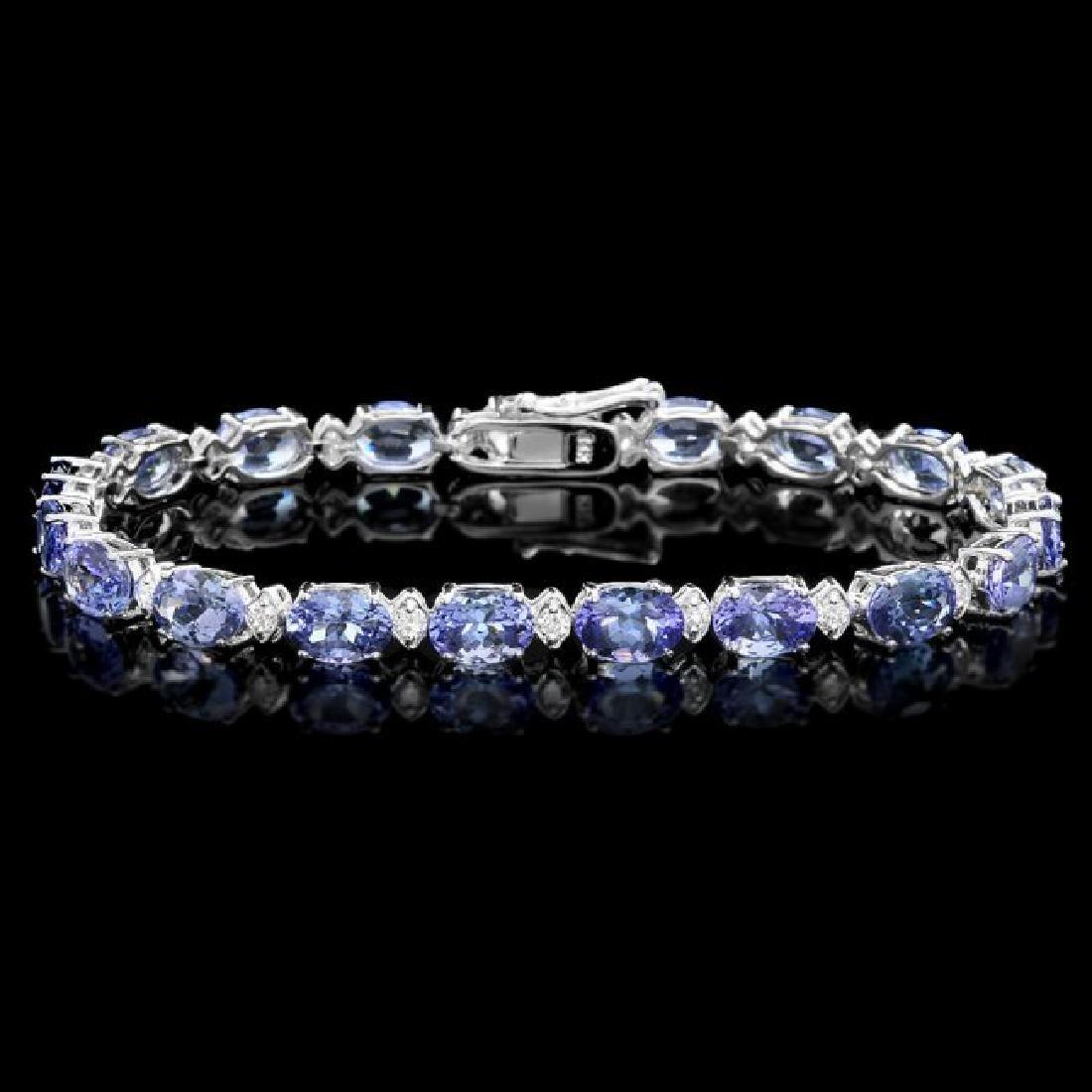 14k 14.00ct Tanzanite 0.90ct Diamond Bracelet