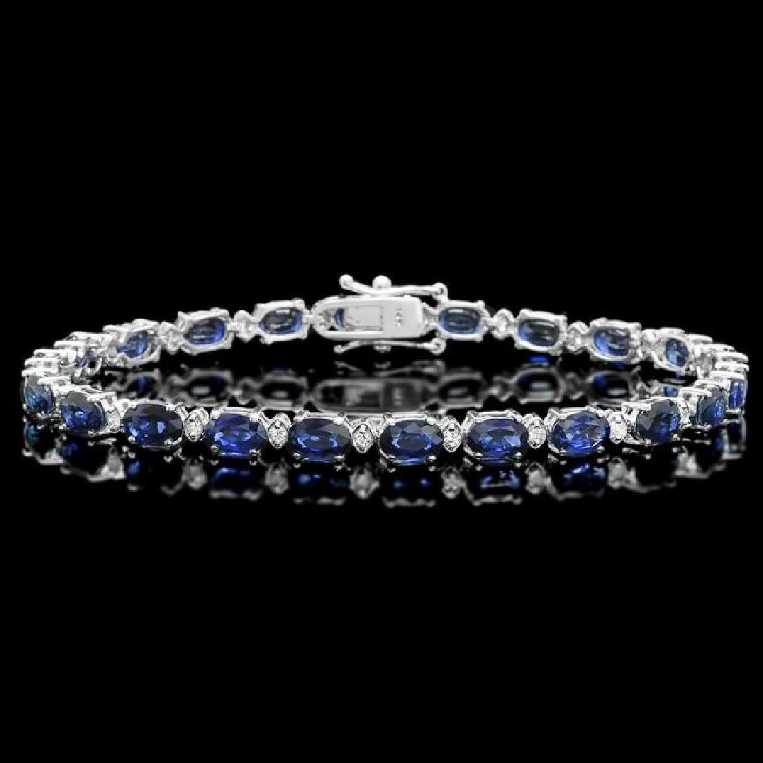 14k Gold 12.00ct Sapphire 0.50ct Diamond Bracelet