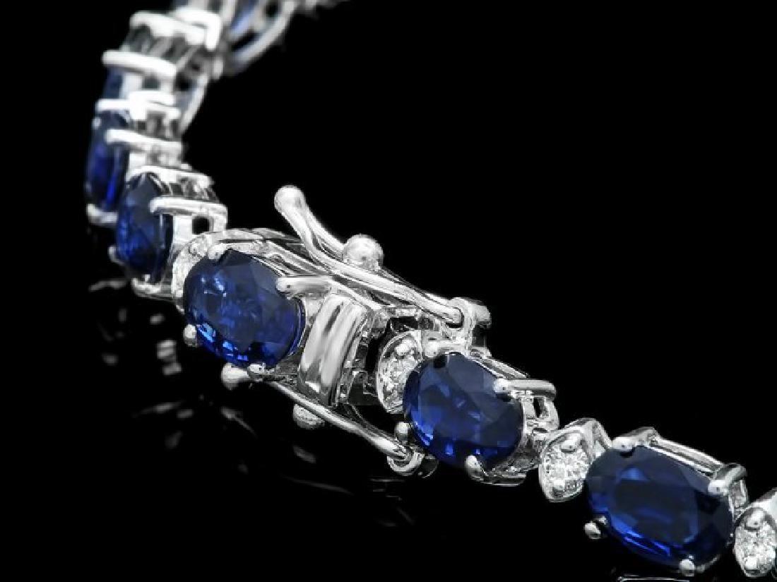 14k Gold 12.00ct Sapphire 0.50ct Diamond Bracelet - 2