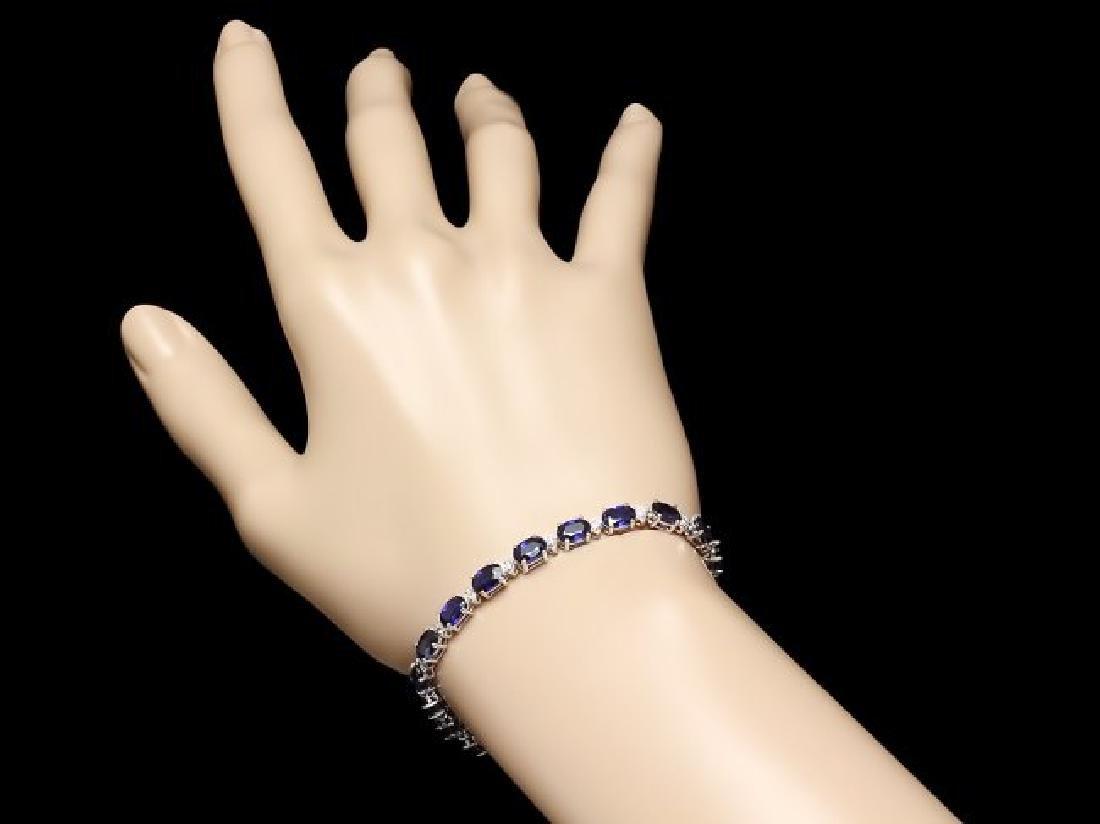 14k Gold 12.00ct Sapphire 0.50ct Diamond Bracelet - 3
