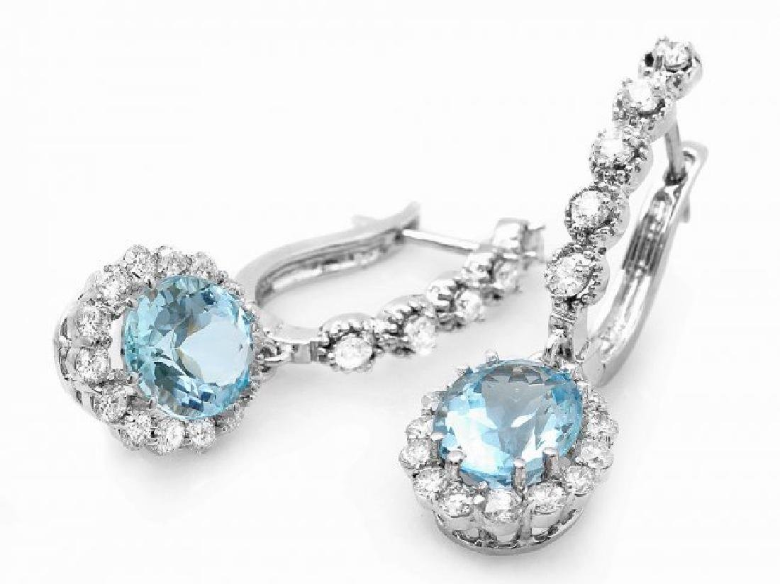 14k Gold 4ct Aquamarine 1.00ct Diamond Earrings - 2