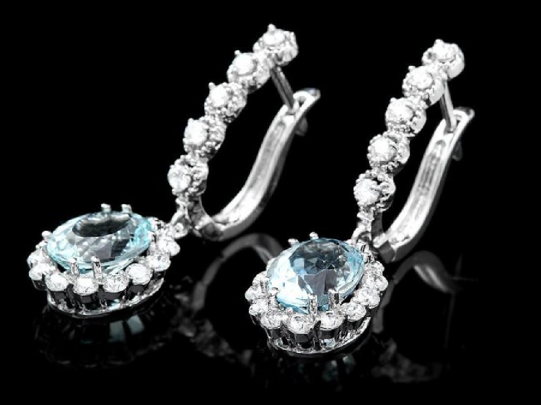 14k Gold 4ct Aquamarine 1.00ct Diamond Earrings - 3