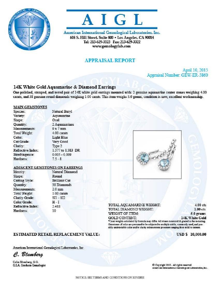 14k Gold 4ct Aquamarine 1.00ct Diamond Earrings - 5