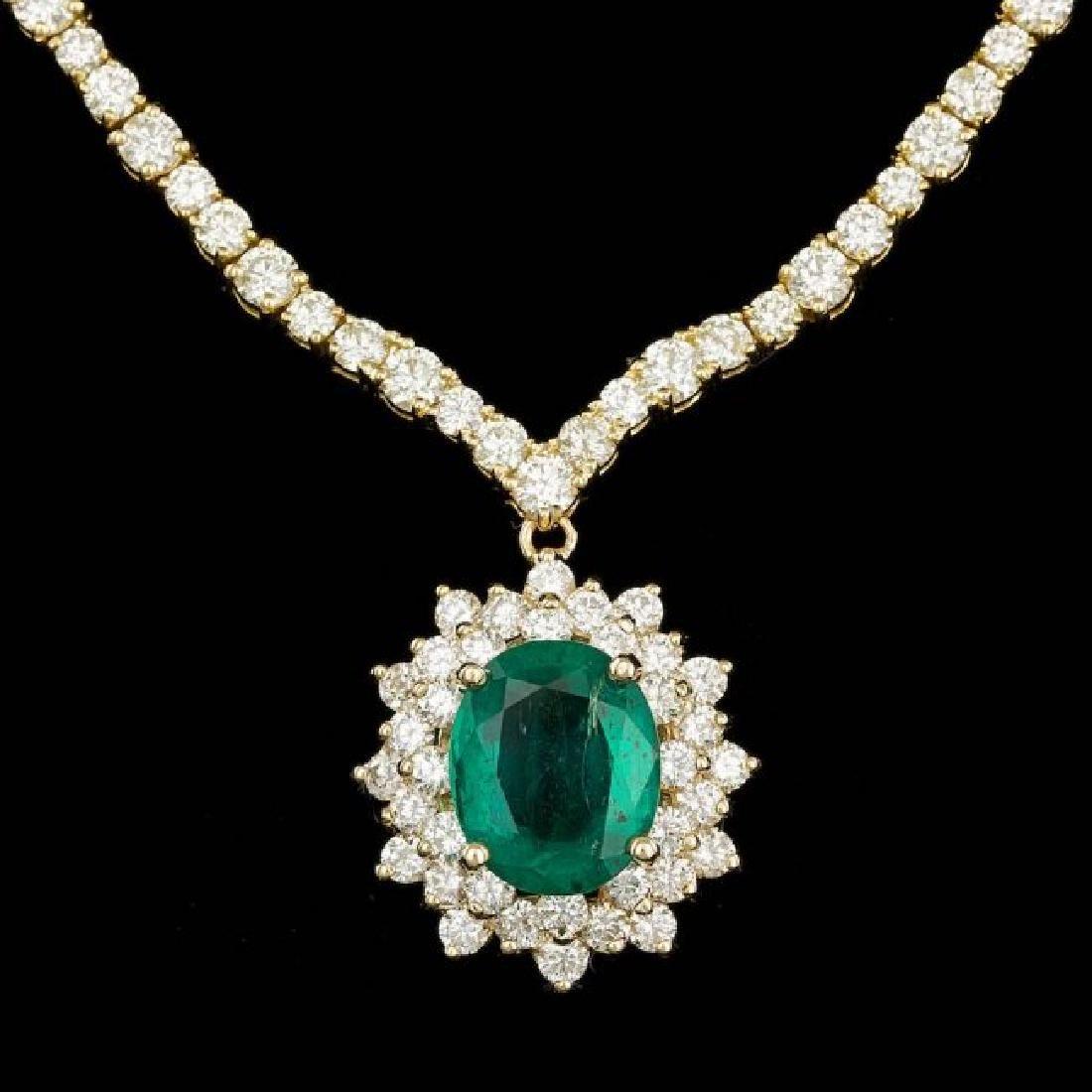 18k Gold 5.00ct Emerald 14.85ct Diamond Necklace