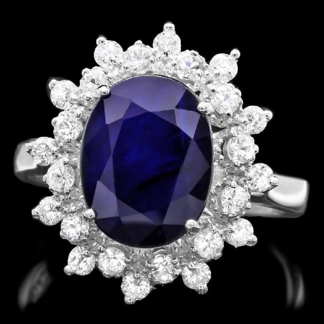 14k Gold 3.70ct Sapphire 0.70ct Diamond Ring