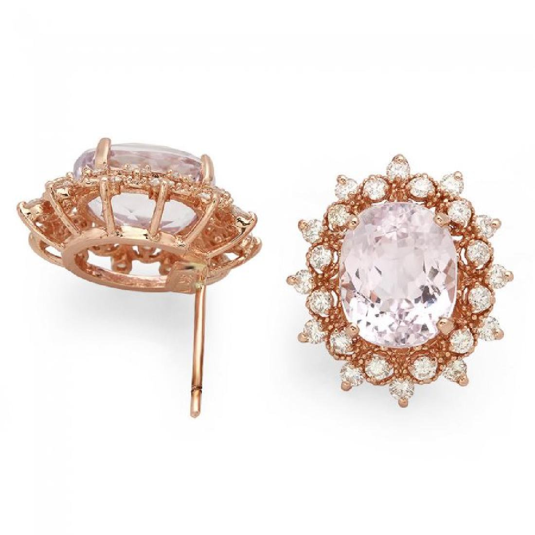 14k Rose 10.00ct Kunzite 1.35ct Diamond Earrings - 2