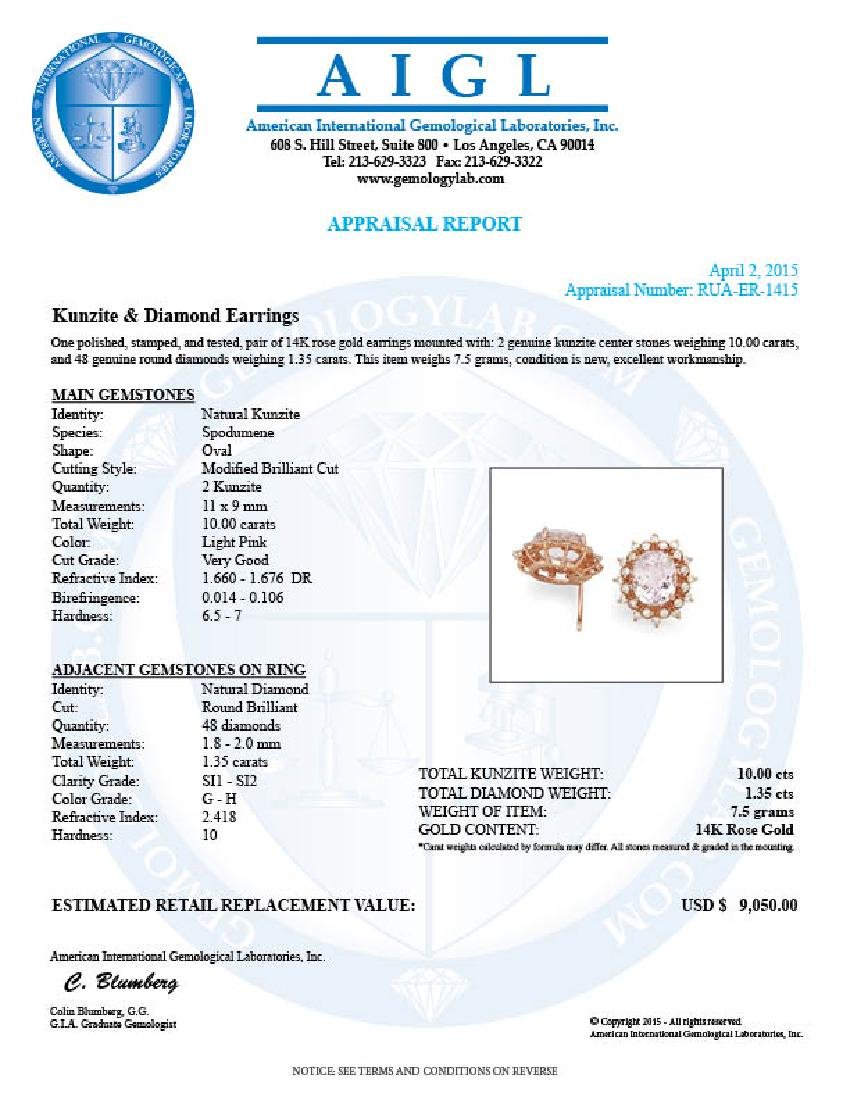 14k Rose 10.00ct Kunzite 1.35ct Diamond Earrings - 5