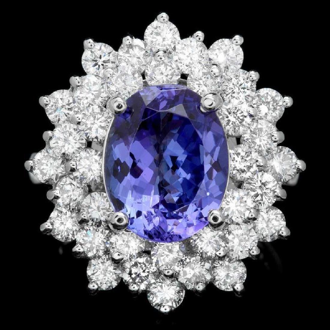 14k Gold 4.00ct Tanzanite 2.50ct Diamond Ring