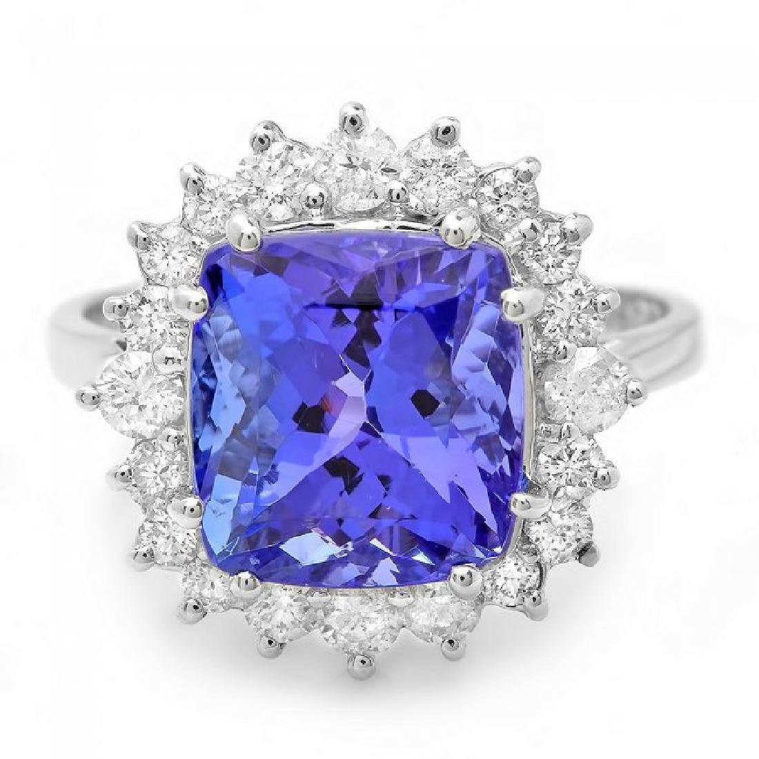 14k Gold 6.00ct Tanzanite 0.70ct Diamond Ring - 2