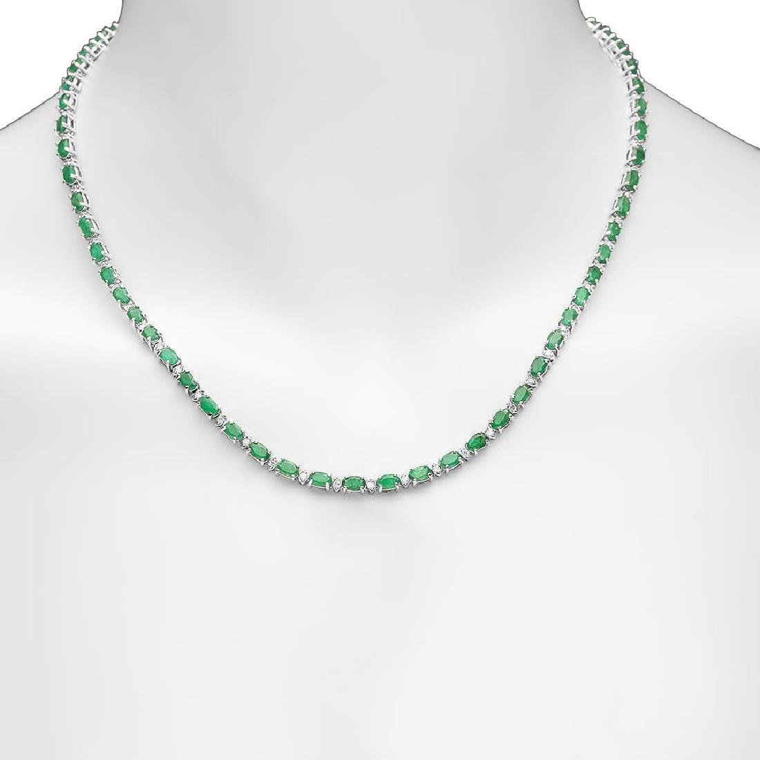 14K Gold 15.24ct Emerald 1.30cts Diamond Necklace