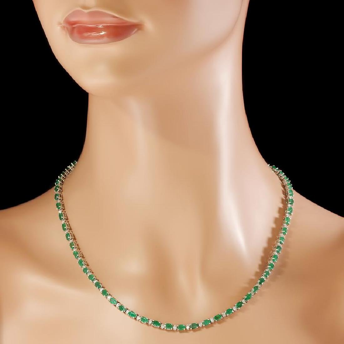 14K Gold 15.24ct Emerald 1.30cts Diamond Necklace - 3
