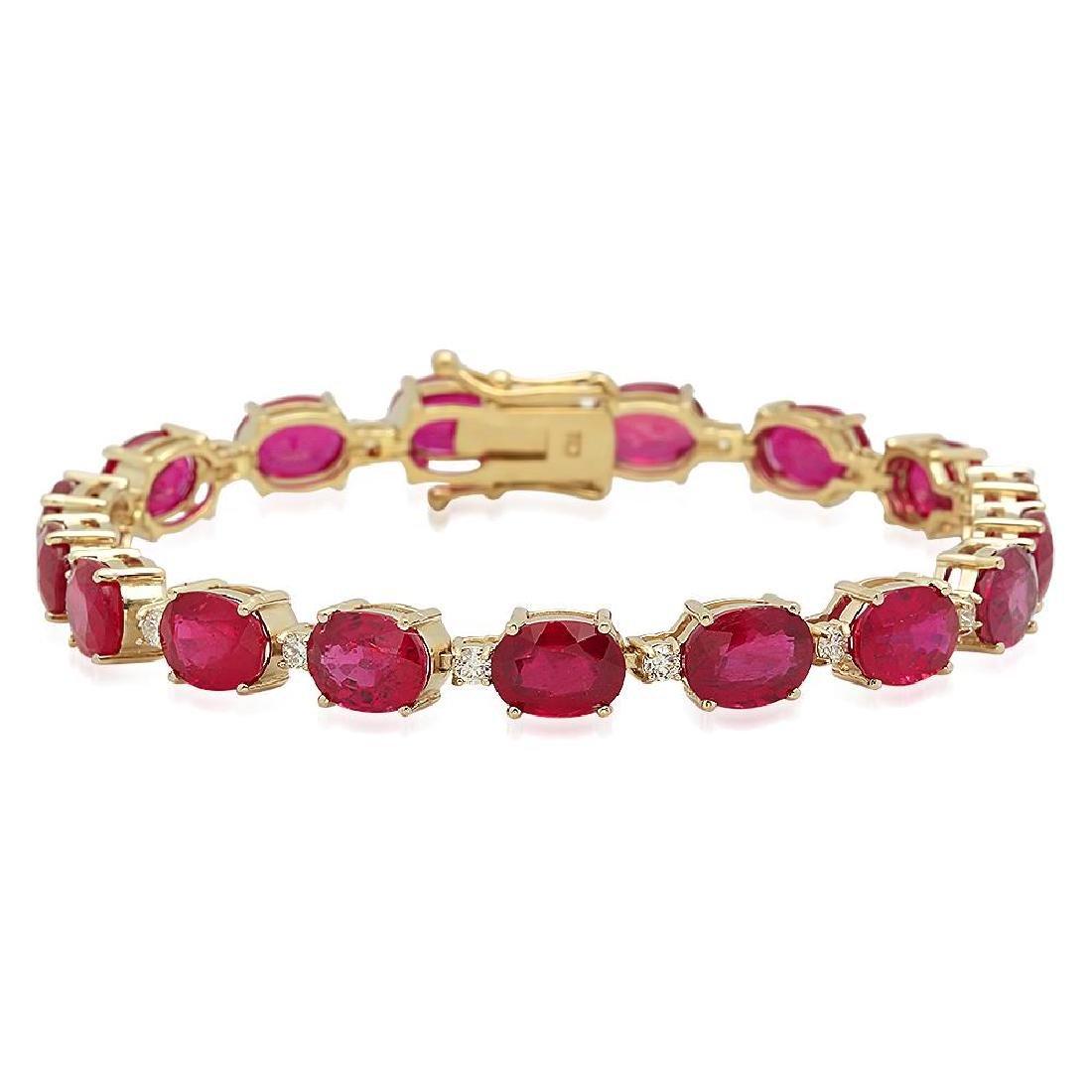 18K Gold 30.66ct Ruby .8ct Diamond Bracelet