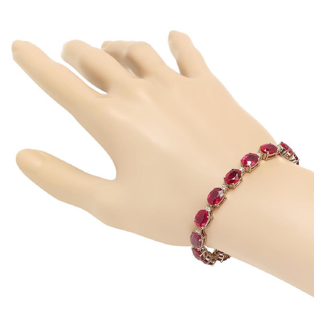 18K Gold 30.66ct Ruby .8ct Diamond Bracelet - 2