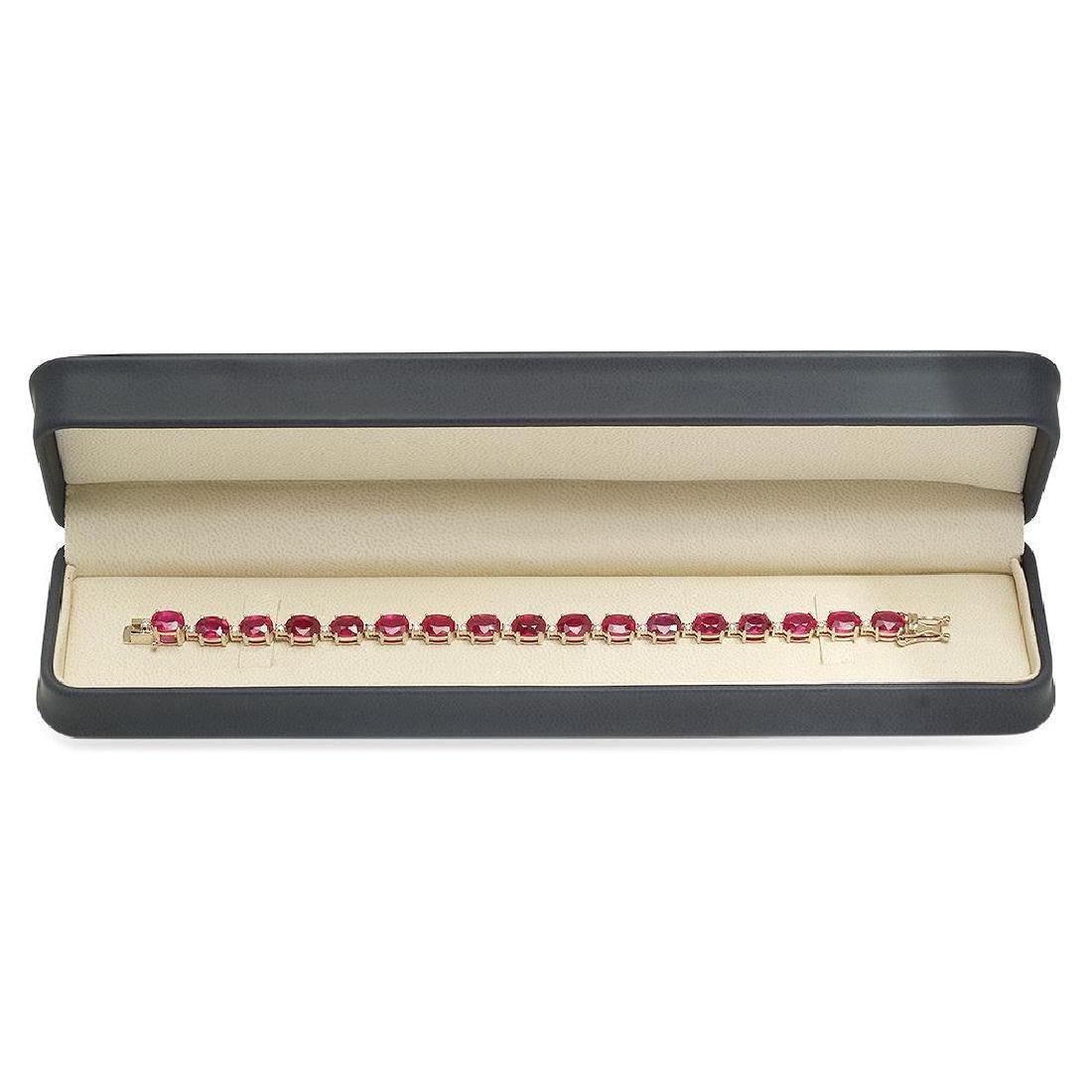 18K Gold 30.66ct Ruby .8ct Diamond Bracelet - 3