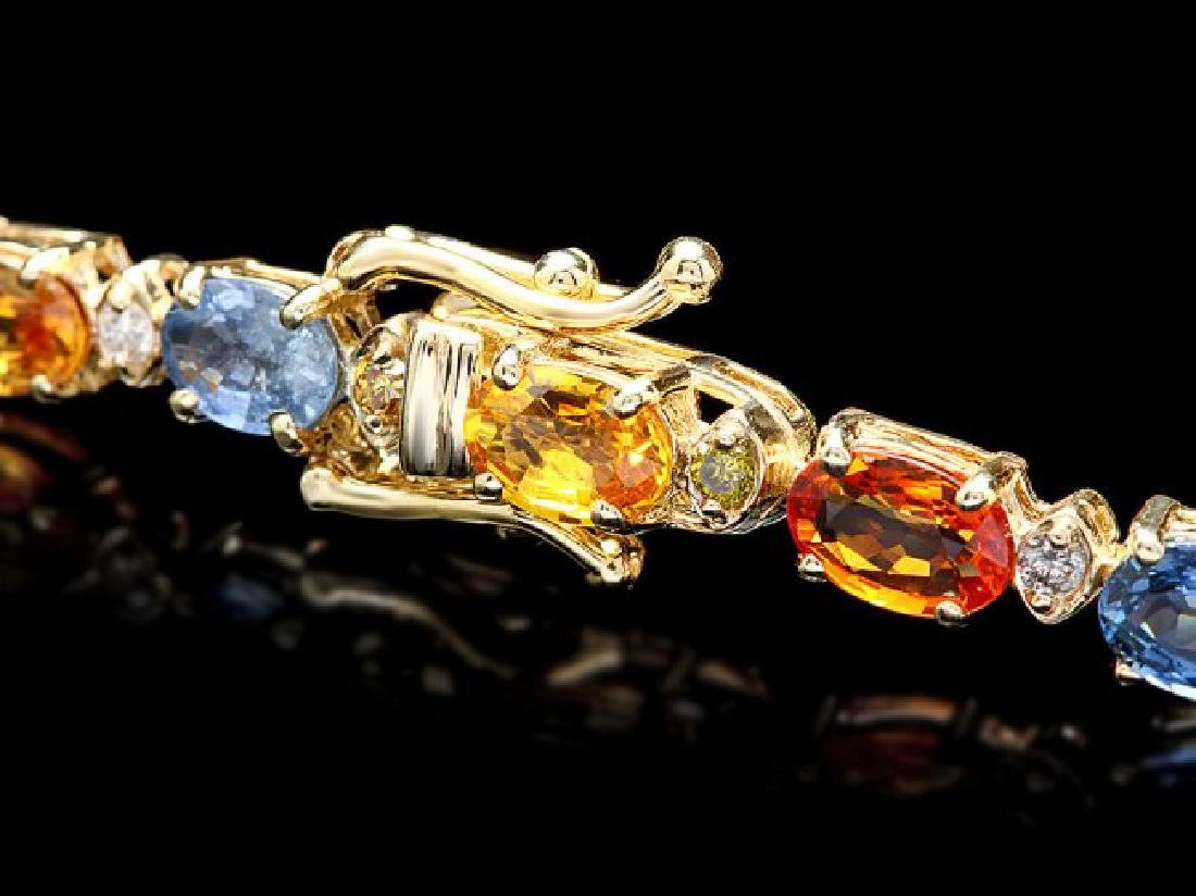 14k Gold 18ct Sapphire .65ct Diamond Bracelet - 3