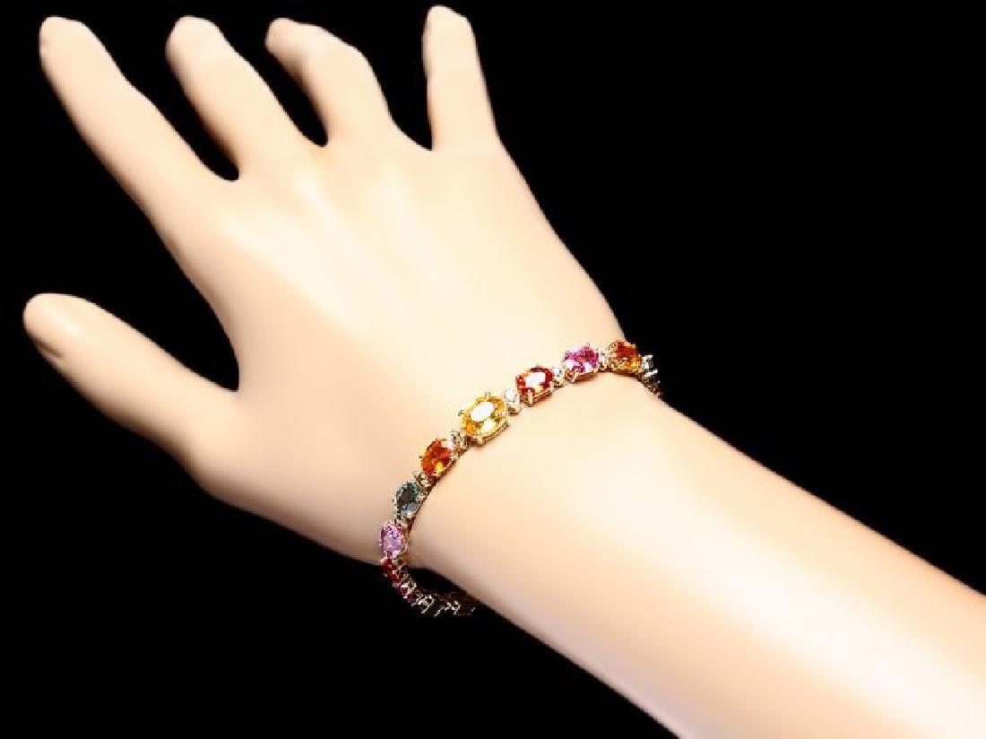 14k Gold 18ct Sapphire .65ct Diamond Bracelet - 5