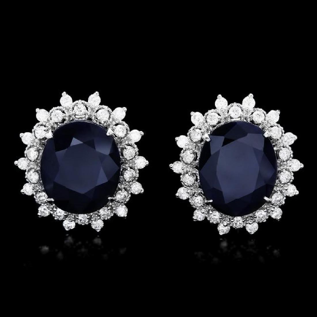 14k Gold 15ct Sapphire 1.40ct Diamond Earrings
