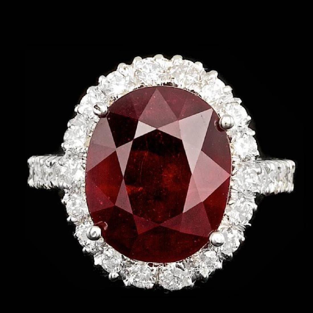 14k White Gold 11.50ct Ruby 1.45ct Diamond Ring