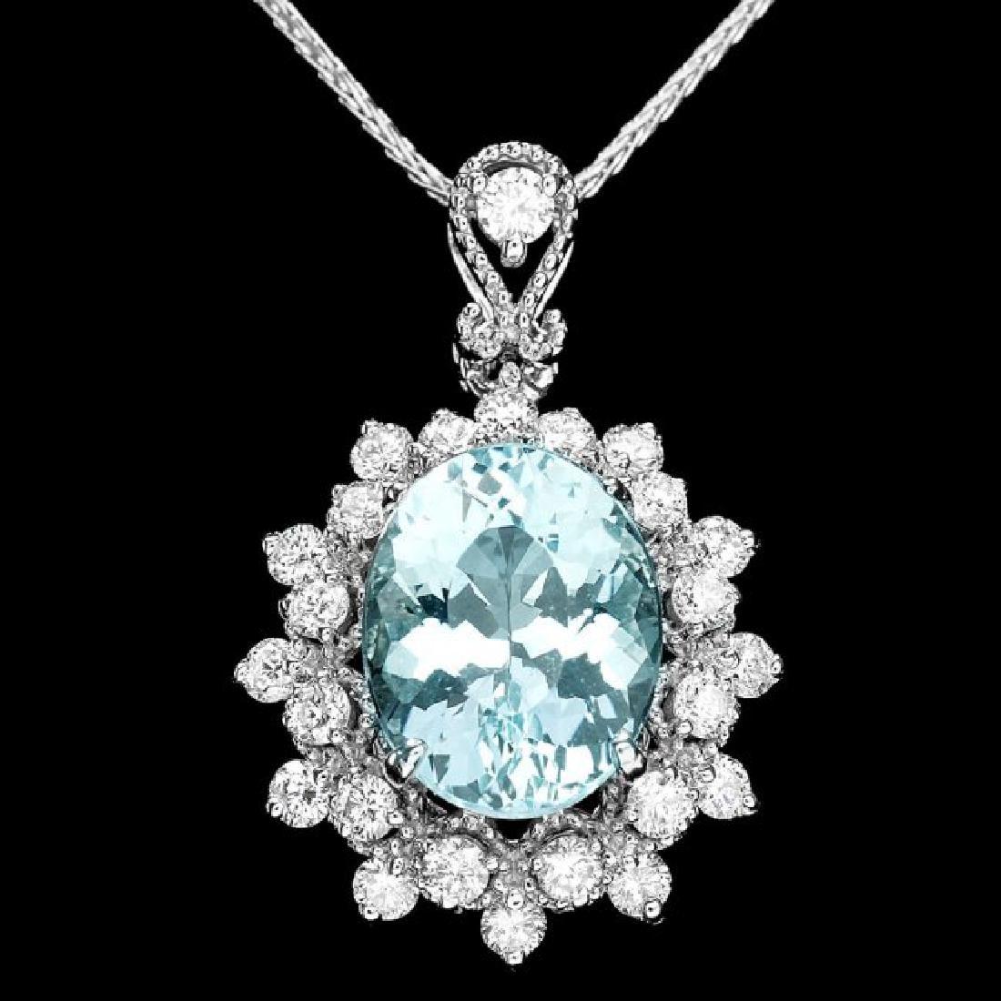 14k Gold 2.8ct Aquamarine .70ct Diamond Pendant
