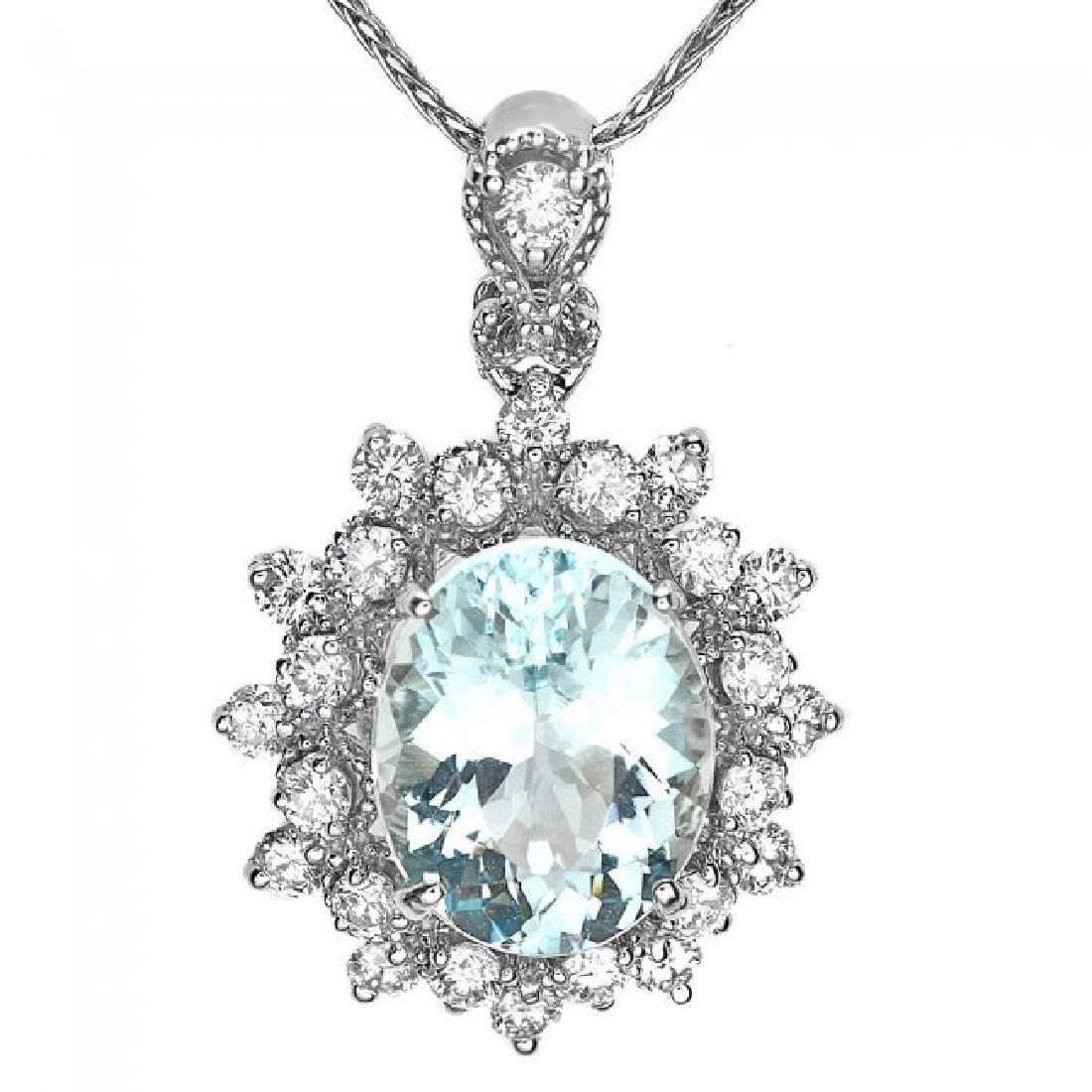 14k Gold 2.8ct Aquamarine .70ct Diamond Pendant - 2