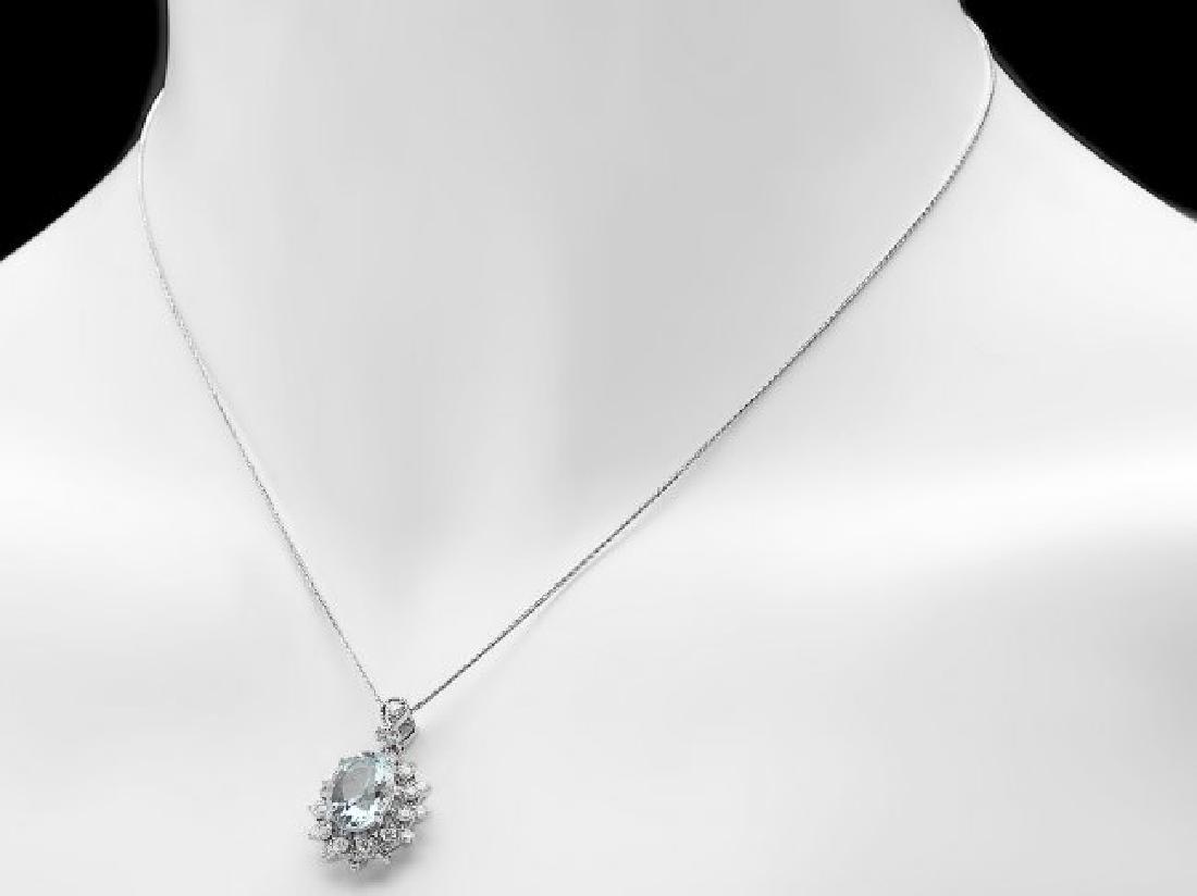 14k Gold 2.8ct Aquamarine .70ct Diamond Pendant - 3