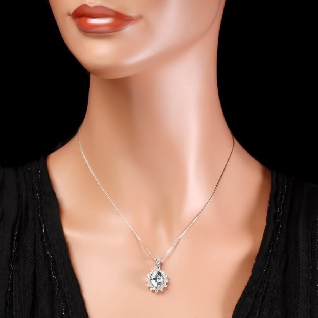 14k Gold 2.8ct Aquamarine .70ct Diamond Pendant - 5