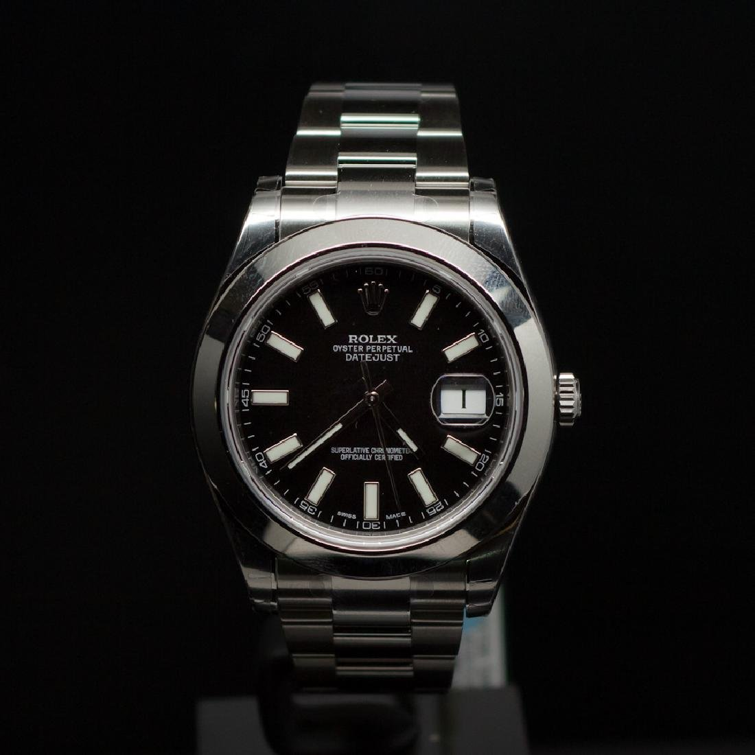 Rolex Stainless Steel Datejust II 41mm Black Dial Men's