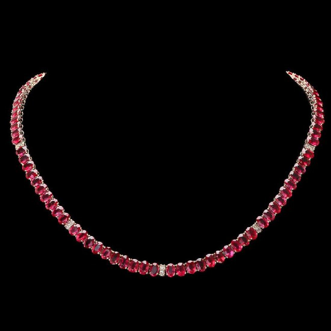 14k Gold 52.00ct Ruby 1.00ct Diamond Necklace