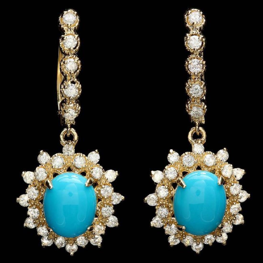 14k Gold 4.00ct Turquoise 1.65ct Diamond Earrings
