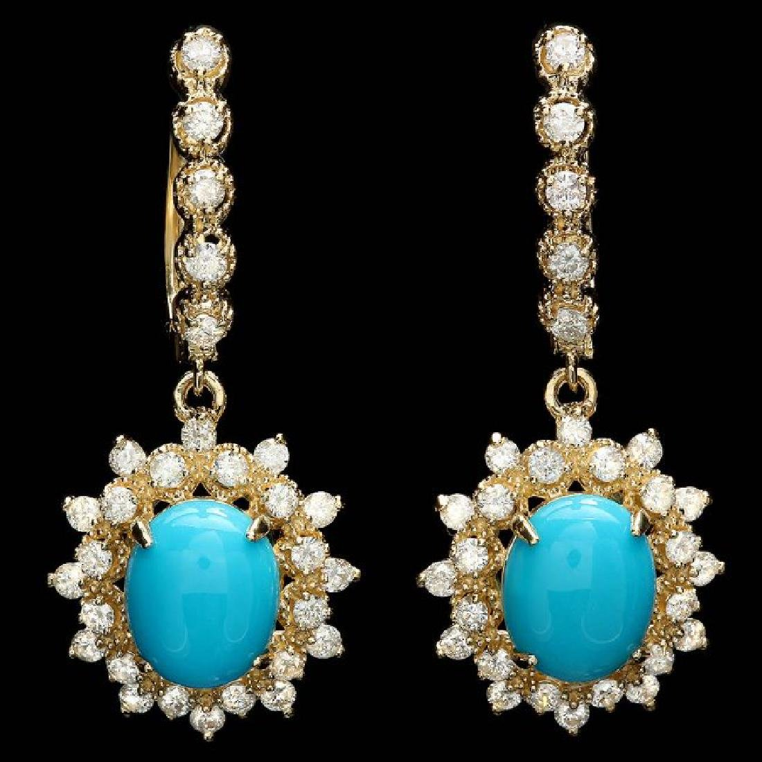 14k Gold 4.00ct Turquoise 1.65ct Diamond Earrings