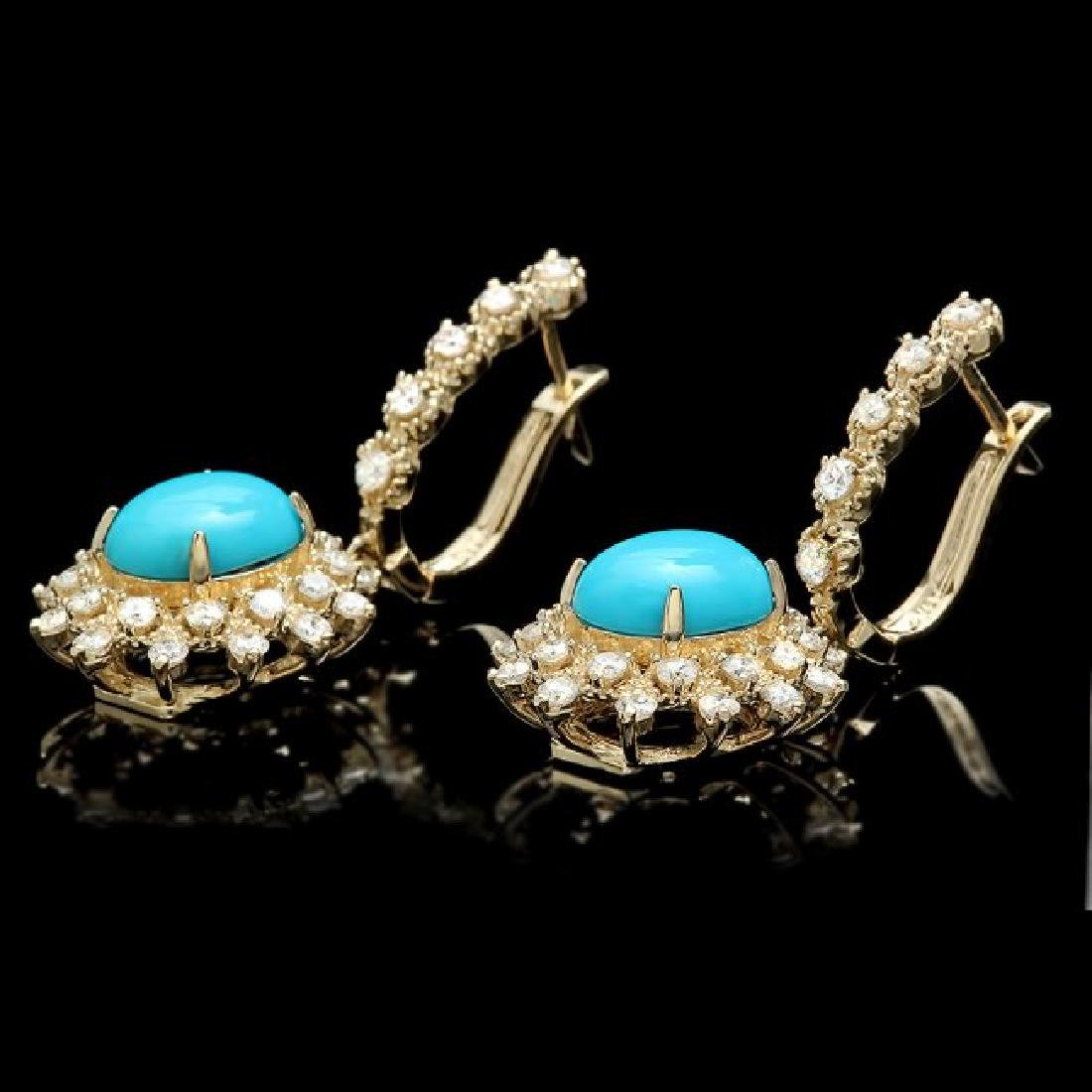 14k Gold 4.00ct Turquoise 1.65ct Diamond Earrings - 2
