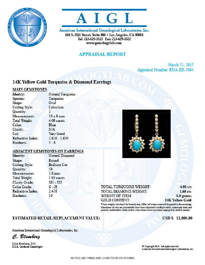 14k Gold 4.00ct Turquoise 1.65ct Diamond Earrings - 3