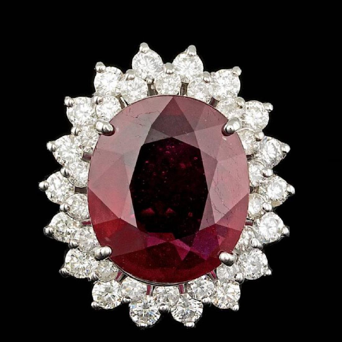 14k White Gold 11.00ct Ruby 1.80ct Diamond Ring
