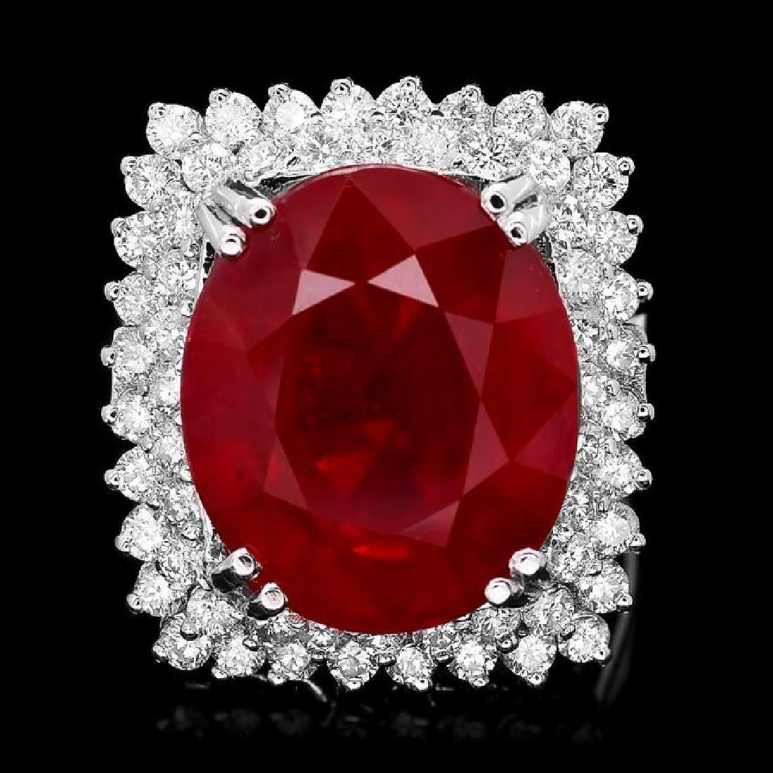 14k White Gold 17.50ct Ruby 1.50ct Diamond Ring