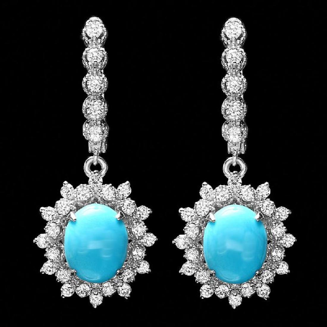 14k Gold 5ct Turquoise 1.50ct Diamond Earrings
