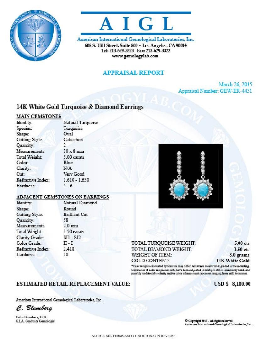 14k Gold 5ct Turquoise 1.50ct Diamond Earrings - 3