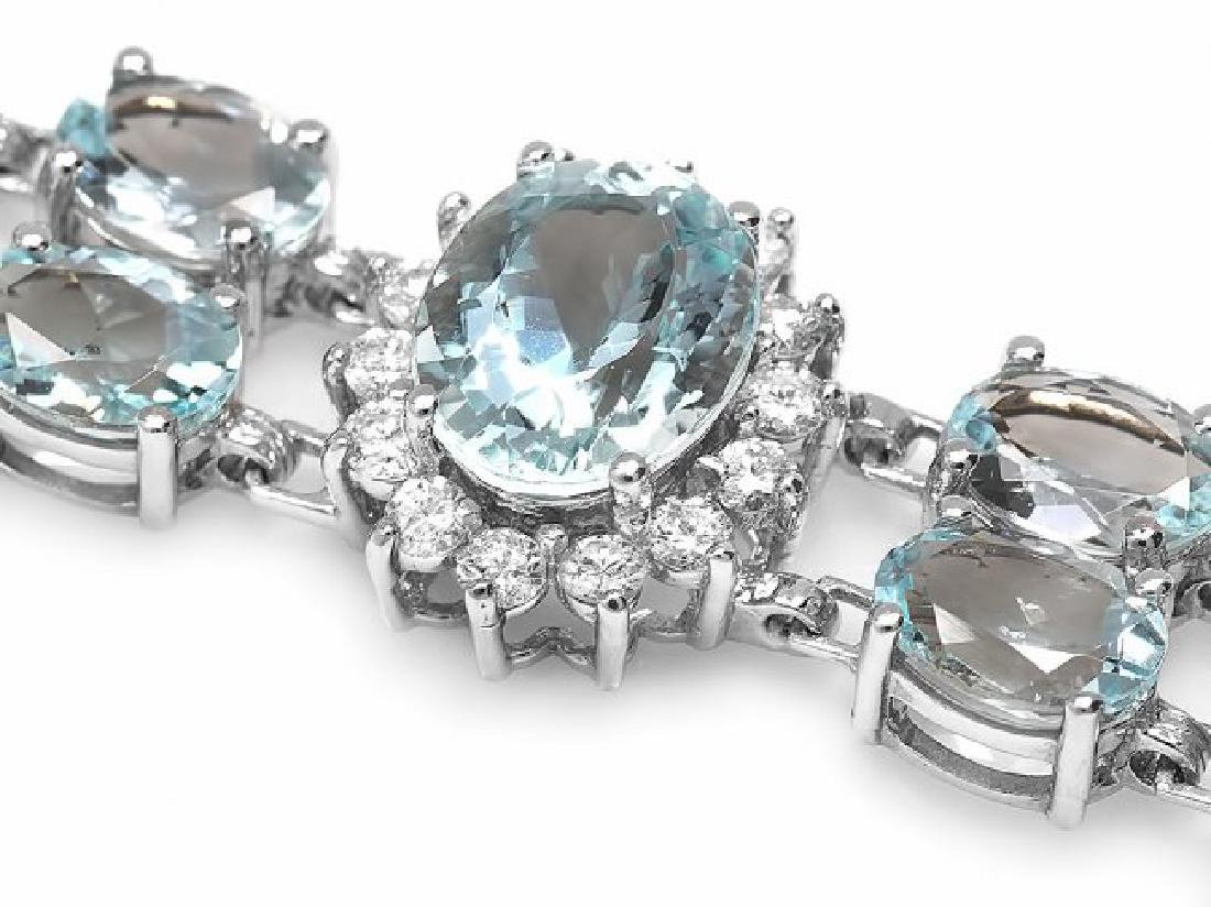 14k Gold 26ct Aquamarine 1.50ct Diamond Bracelet - 2