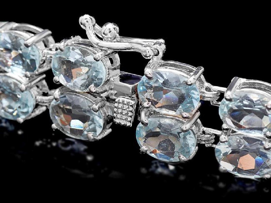14k Gold 26ct Aquamarine 1.50ct Diamond Bracelet - 3