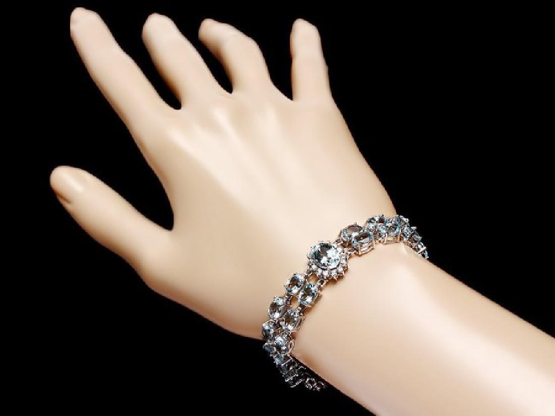 14k Gold 26ct Aquamarine 1.50ct Diamond Bracelet - 5
