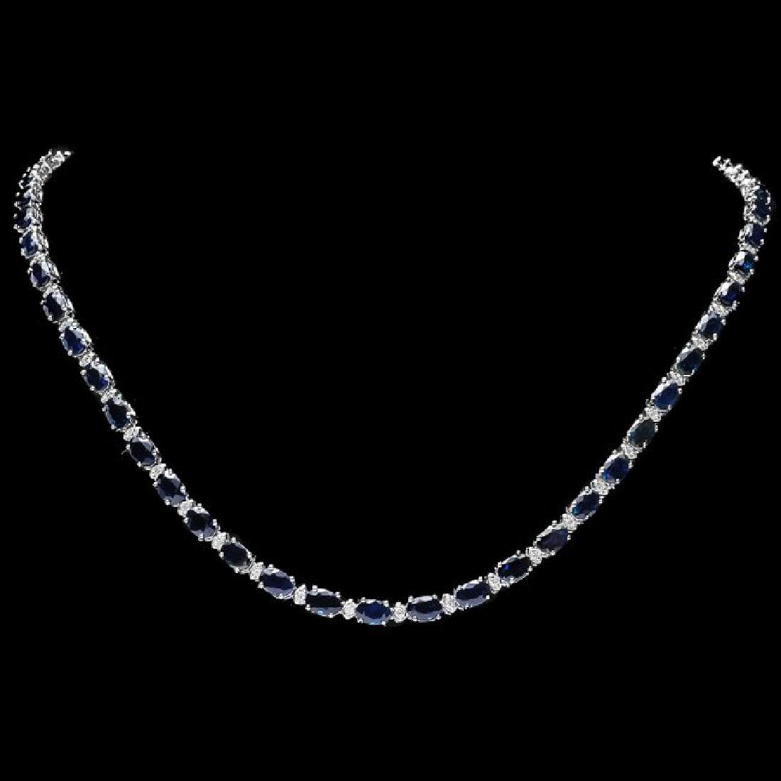 14k Gold 26.50ct Sapphire 1ct Diamond Necklace